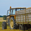 Stock Photo: Tractor in field with trailer