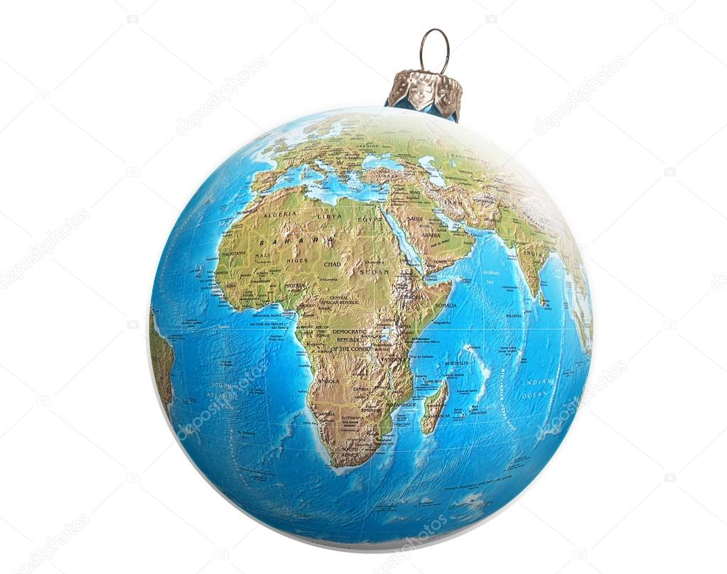 World globe christmas ornaments - Globe Christmas Balls Stock Photo 34671241