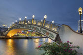 Kampung Morten Bridge Over Melaka River Waterfront at Blue Hour — Stock Photo