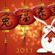 Happy Chinese New Year 2011 Rabbit Holding Red Money Packet — Stock Photo #4733549