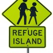 Stock Photo: Refuge island warning traffic sign