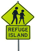 Refuge island warning traffic sign — Stock Photo