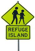 Refuge island warning traffic sign — Stock Photo