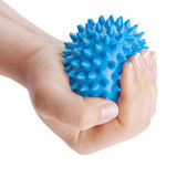 Woman's hand with blue massage ball — Stock Photo