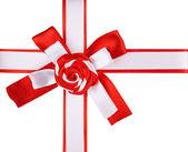 Rode en witte ribbon bow — Stockfoto