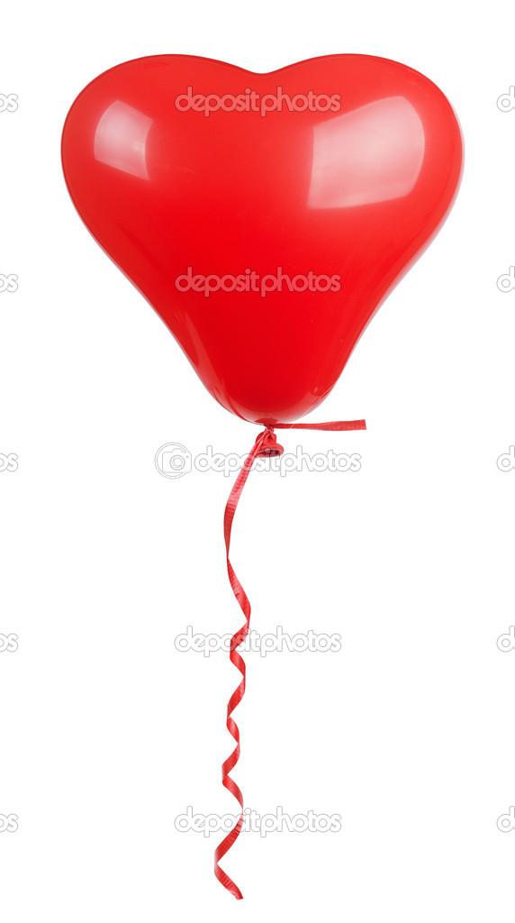 心形红色气球隔离在白色背景上— 照片作者 levkro