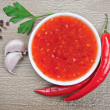 Stock Photo: Red hot chilli sauce