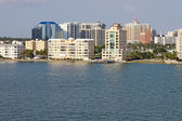 Partial skyline of Sarasota, Florida, viewed from the water — Stock fotografie