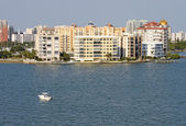 Partial skyline of Sarasota, Florida, viewed from the water — ストック写真