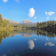 Mount Lassen and clouds reflected in Manzanita Lake — Stock Photo