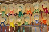Straw hats with ribbons for sale at a stand in Colonial Williams — Stockfoto
