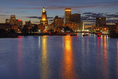 HDR image of the night skyline of Providence, Rhode Island — Stock Photo
