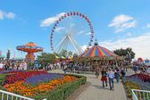 Carousel, ferris wheel and other rides at Navy Pier, Chicago — Stok fotoğraf
