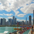 Tourists at Navy Pier and cityscape of Chicago, Illinois — Stock Photo