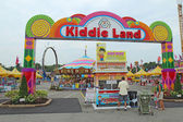 Entrance to Kiddie Land and rides at the Indiana State Fair in I — Stock Photo