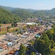 Aerial wide-angle view of the main road through Gatlinburg, Tenn — Stok fotoğraf