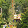 Stock Photo: Tourists riding the Sky Lift in Gatlinburg, Tennessee vertical