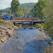 Foto de Stock  : Bridge over the Little Pigeon River in Gatlinburg, Tennessee ver