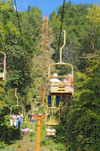 Tourists riding the Sky Lift in Gatlinburg, Tennessee vertical — Stock Photo