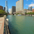 Skyline of Chicago, Illinois along the Chicago River vertical — Zdjęcie stockowe