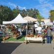 Stock Photo: Buyers and vendors at farmers market in Calistoga, Californi