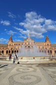 Tourists at the Plaza de Espana in Seville, Spain vertical — Stock fotografie