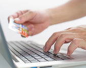 Pay the money and purchase goods via internet use credit card — Stock Photo