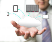 Cloud computing service with a business man and office backgrou — Stock Photo