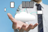 Cloud computing service with a business man — Stock Photo
