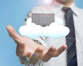 Palm opening businessman with cloud and server cloud computing s — Stock Photo