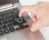 Online dealing and cooperating concept push shake hand button an — Stock Photo
