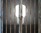 Verschlossene Tür mit Beleuchtung Birne und graue Betonwand Hintergrund — Stockfoto
