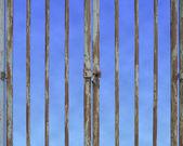 Locked door with empty space in blue sky background — Stock Photo