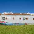 Traditional Asia building in Taiwan with wooden boat, meadow and — Stock Photo