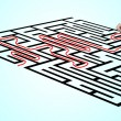 Stock Photo: Hand drawing solution on maze