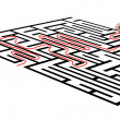 Hand drawing solution on maze — Stock Photo
