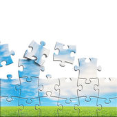 Puzzles with beautiful landscape on it — Stock Photo