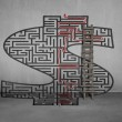 Money shape maze with solution on wall — Stock Photo