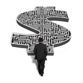 Businessman walking toward 3d money shape maze  — Stok fotoğraf