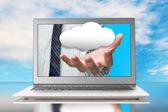 La main hors écran avec nuage — Photo