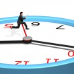 Man jumping over clock pointer — Zdjęcie stockowe