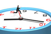 Man jumping over clock pointer — Stok fotoğraf