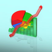 3D chart with growing arrow on table — Stock Photo