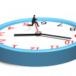 Running and jumping over second hand on clock — Stok fotoğraf