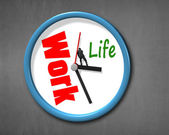 Pushing hand with work life clock face  — Stock Photo