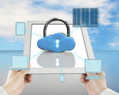 Cloud shape lock on tablet with computing devices — Zdjęcie stockowe