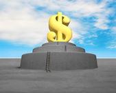 Money symbol on top of concrete structure — Stock Photo