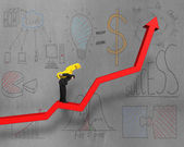 Carrying money on red arrow with business concept doodles — Stock Photo