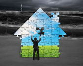 Building puzzles house with beautiful landscape — 图库照片