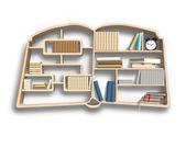 Bookshelf in book shape  — Stock Photo